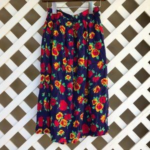 Vintage Bright Floral A-line Skirt Size 2!